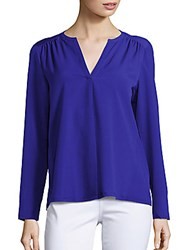 French Connection Split V Neck Long Sleeve Top Monarch Blue