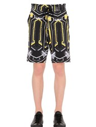 John Richmond David Bowie Print Stretch Cotton Shorts