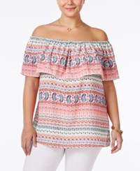Ing Plus Size Geo Print Off The Shoulder Top Natural Multi