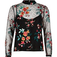 River Island Womens Black Embroidered Mesh Top