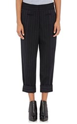 Victor Alfaro Women's Wool Blend Crop Trousers Navy
