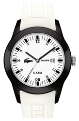 Lacoste 'Advantage' Silicone Strap Watch 42Mm White Black