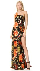 Haney Taylor One Shoulder Dress Black Red Gold Print
