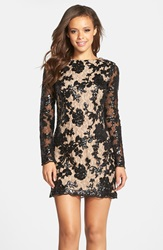 Dress The Population 'Grace' Sequin Lace Long Sleeve Shift Dress Black