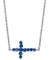 Macy's 10K White Gold Necklace Sapphire Sideways Cross Pendant 3 8 Ct. T.W.