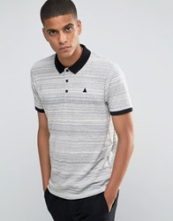 Asos Textured Polo With Embroidery And Contrast Collar In Grey Grey Slub