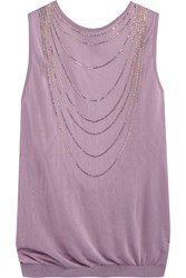 Moschino Cheap And Chic Crystal Embellished Fine Knit Top Purple