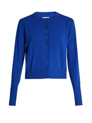 Maison Martin Margiela Layered Button Down Cashmere Cardigan Blue