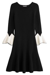 Alexander Mcqueen Wool Dress With Ruffled Sleeves Black