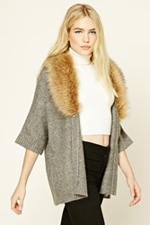 Forever 21 Faux Fur Shawl Collar Cardigan Charcoal