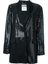 Moschino Sequin Embellished Tuxedo Jacket Black