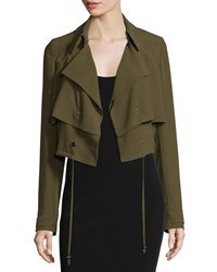 Haute Hippie Cropped Drawstring Trench Jacket Military Women's