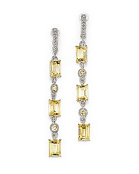 Judith Ripka Triple Baguette Linear Drop Earrings With Canary Crystal Yellow Silver