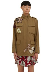 Valentino Floral Embroidered Military Jacket Khaki