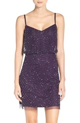 Adrianna Papell Women's Sequin Mesh Blouson Dress Amethyst Gunmetal