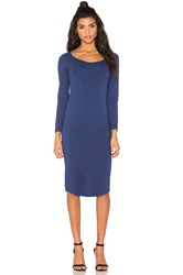 Monrow Core Collection Long Sleeve Dress Navy