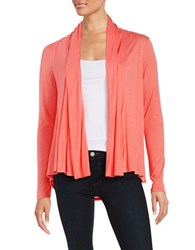 Ellen Tracy Draped Open Front Cardigan Coral