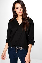 Boohoo Woven Military Style Oversized Shirt Black