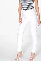 Boohoo Ripped Knee Jeans White