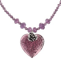 Martick Bohemian Glass Flat Heart And Rose Crystal Necklace Blackberry