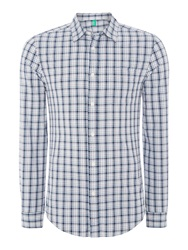 United Colors Of Benetton Long Sleeve Check Shirt Blue