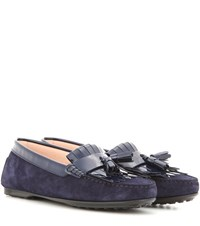 Tod's Frangia Suede And Patent Leather Loafers Blue