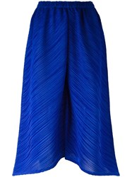 Issey Miyake Pleats Please By Loose Fit Cropped Trousers Blue