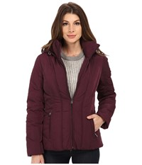 Calvin Klein Short Down Coat W Untrimmed Hood Black Plum Women's Coat