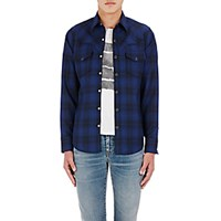Saint Laurent Men's Plaid Woven Western Shirt Navy No Color Navy No Color
