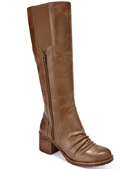 Bare Traps Dallia Block Heel Wide Calf Boots Women's Shoes Mushroom