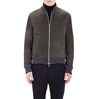 Officine Generale Men's Suede Bomber Jacket Grey