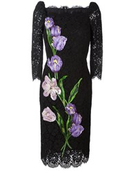 Dolce And Gabbana Tulip Embroidery Lace Dress Black