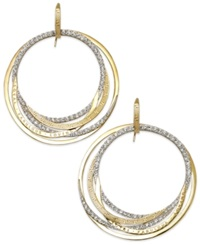 Sis By Simone I Smith 'Forever Shaunie' 18K Gold Over Sterling Silver Earrings Crystal Eternity Hoop Earrings 1.3 1.8Mm