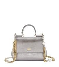 Dolce And Gabbana Mini Sicily Iguana Print Top Handle Bag Female Silver