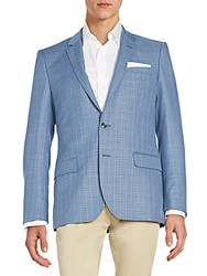 Hugo Boss Hutsons Textured Check Virgin Wool Sportcoat Turquoise