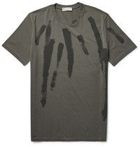 Balenciaga Printed Cotton Jerey T Hirt Army Green