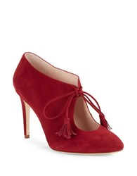 Kate Spade Davie Lace Up Suede Booties Red