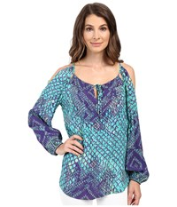 Hale Bob Animal Intuition Long Sleeve Blouse With Keyhole Detail Teal Women's Blouse Blue