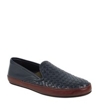Bottega Veneta Half Woven Leather Slipper Male Blue