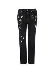 Alexander Mcqueen 'Surreal Obsessions' Embellished Cropped Jeans Black