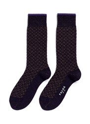 Falke 'Bed Rock' Knit Check Socks Purple