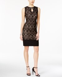 R And M Richards Sleeveless Lace Keyhole Dress Black Taupe