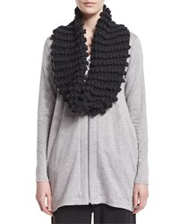 Hand Knit Popcorn Infinity Scarf Women's Grey Eileen Fisher Charcoal