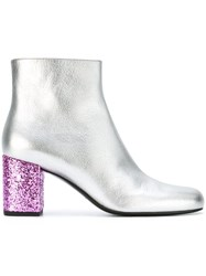 Saint Laurent 'Babies 70' Ankle Boots Metallic