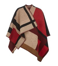 Burberry Shoes And Accessories Check Wool Cashmere Cape Female Camel
