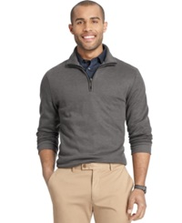 Van Heusen Big And Tall Heathered Quarter Zip Pullover Sweater Charcoal Heather