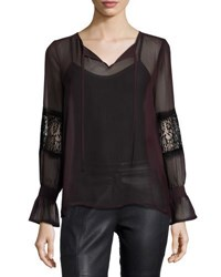 Laundry By Shelli Segal Lace Mix Long Sleeve Blouse Black