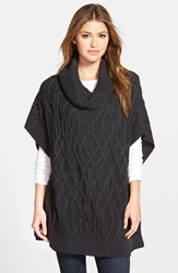 Caslon Cowl Neck Cable Knit Sweater Cape Heather Charcoal