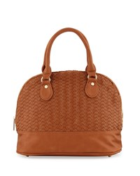 Neiman Marcus Woven Dome Satchel Bag Cognac Red