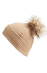 Women's Halogen Faux Fur Pom Cashmere Blend Beanie Brown Tan Camel Heather